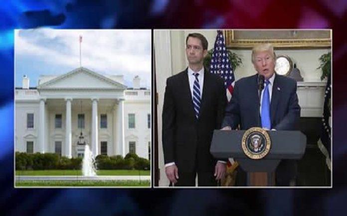 دونالد ترامپ رئیس-جمهور آمریکا در کاخ سفید با سناتور تام کاتن-min