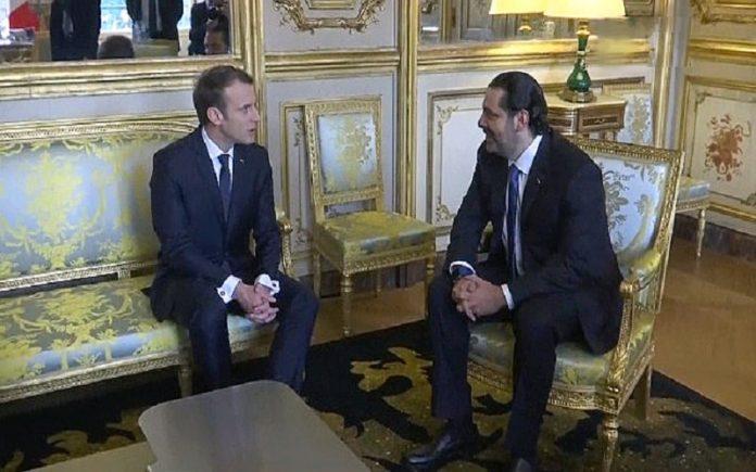 امانوئل ماکرون رئیس_جمهور فرانسه و سعد حریری-min