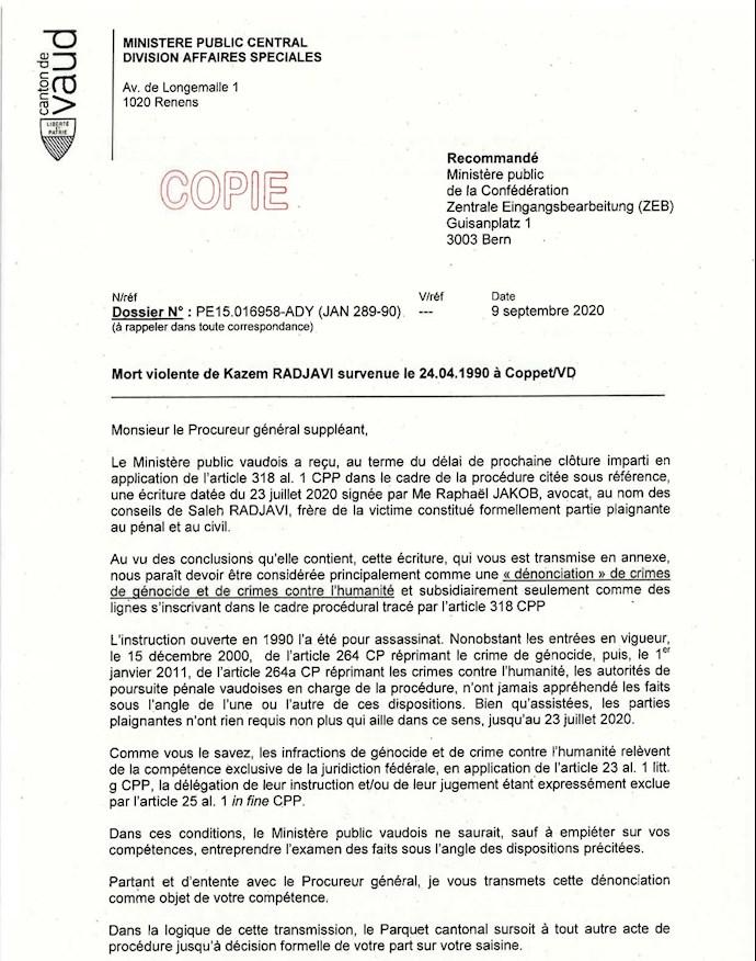 بازبینی مجددپرونده ترور دکتر کاظم رجوی درچارچوب «نسل کشی» و «جنایت علیه بشریت» در سوئیس