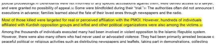 برشی از گزارش عفو بینالملل درباره قتلعام زندانیان سیاسی در سال ۱۳۶۷