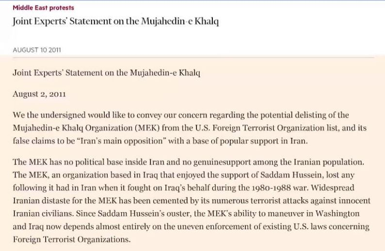 تایمز مالی-مقاله لابی رژیم علیه خروج مجاهدین خلق از لیست تروریستی