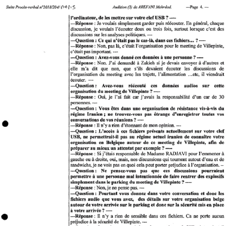 تناقضگویی های مستمرمهرداد عارفانی دربرابر اعمال جاسوسی اش علیه مجاهدین، اسناد برملاشده در دادگاه محاکمه دیپلمات تروریست خامنه ای در بلژیک