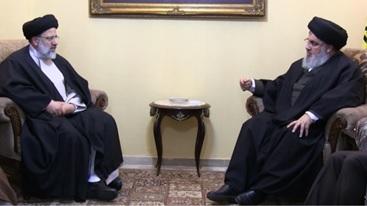 ابراهیم رئیسی رئیس وقت آستان قدس با حسن نصرالله سرکرده حزبالله لبنان