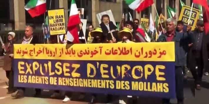هواداران مقاومت ایران در تظاهرات خود خواهان اخراج مزدوران رژیم آخوندی از اروپا هستند