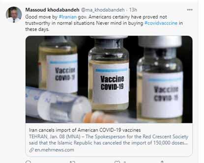 توئیت مزدور مسعود خدابنده در حمایت از فتوای خامنهای برای نخریدن واکسن