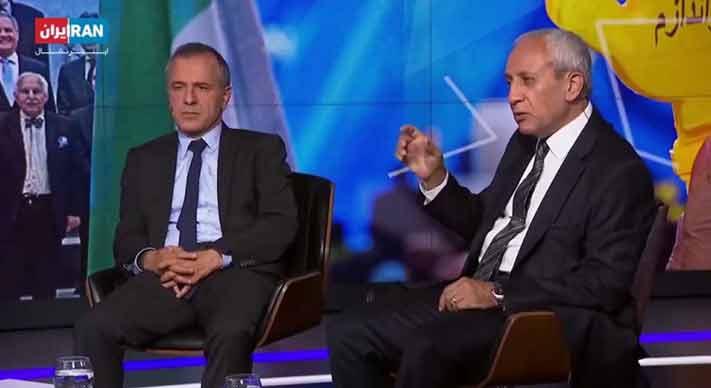 مامور اطلاعات آخوندها مسعودخدابنده و مزدور نفوذی ایرج مصداقی در برنامه تلویزیون اینترنشنال